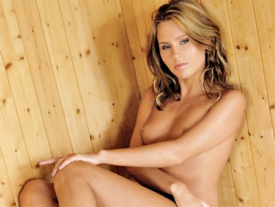 In this picture set Susan is naked in the sauna naked showing her small tits ...