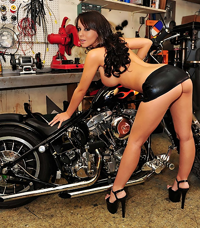 Biker babe in the chop shop