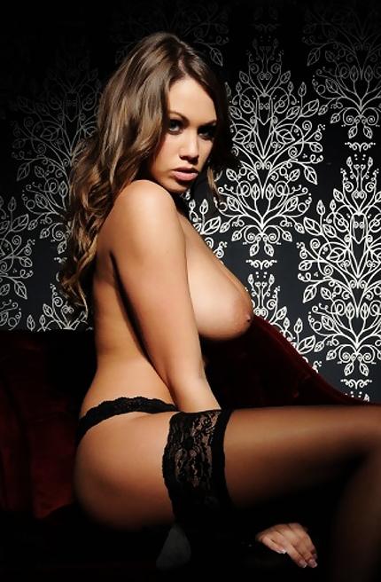 Emma Frain in black lingerie